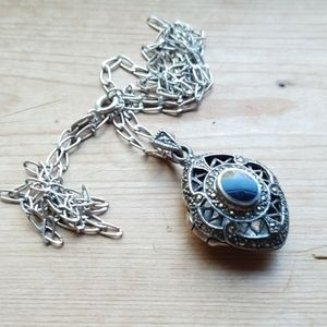 Aromatherapy Locket Sterling silver marcasite